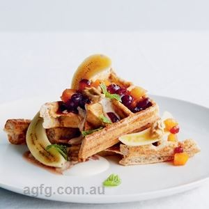 Banana Wholemeal Waffles with Dried Apricot and Cranberry Sauce - Chef Recipe by Kim Brennan