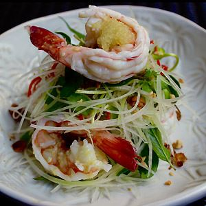 Cold Christmas Prawns, Green Mango, Red Chilli, Vietnamese Mint and Thai Basil with Ginger and Finger Lime Dressing - Chef Recipe by Gavin Hughes