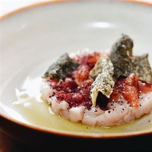 Kingfish Crudo, Yellow Peach, Davidson Plum and Torched Tomato - Chef Recipe by Jayden Barker