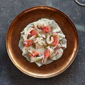 Swordfish Carpaccio with Pink Grapefruit, Pink Peppercorns and White Balsamic by Husk & Vine Kitchen and Bar