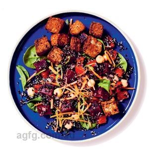 Spicy Tempeh Poke with Beetroot and Quinoa Salad
