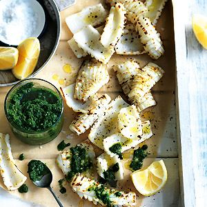 Grilled Calamari and Salsa Verde - Chef Recipe by Matt Moran