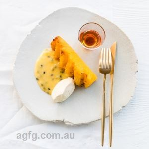 Rum Caramel Roasted Pineapple with Passionfruit Curd and Vanilla Custard - Chef Recipe by Richard Ousby