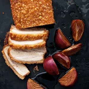Roast Pork Belly with Balsamic-marinated Red Onions - Chef Recipe by Neil Perry