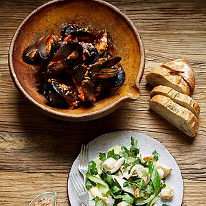 Smoked Tomato Romesco Mussels - Chef Recipe by Matt Wilkinson and Sharlee Gibb