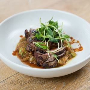 Charcoal Roasted Lamb Rump, Smoked Eggplant and Chilli Bean Paste - Chef Recipe by David Coomer