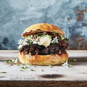 BBQ Portobello Burger with Caramelised Onions and Saint Agur Cheese