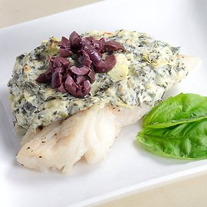 Cod with Spinach Artichoke Spread