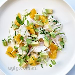 Abraham's Ceviche of Eden Swordfish and Prawns with Avocado, Tomato and Chilli - Chef Recipe by Paul Goodenough and Rick Stein
