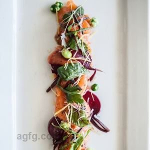 House Cured Gravalax with Wasabi Peas, Pickled Beets and Samphire - Chef Recipe by Adam Ion