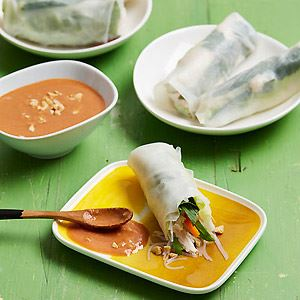 Chicken and Noodle Rice Paper Rolls with Hoisin - Peanut Sauce