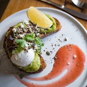 Smashed Avocado with Rhubarb Compote and Mixed Seeds - Chef Recipe by Kennis Lam