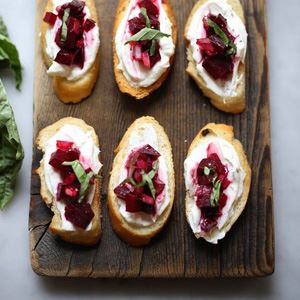 Ashed Goats' Cheese & Beetroot Bruschetta