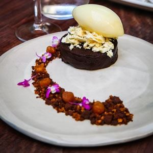 Chocolate Torte with Pineapple Sorbet - Chef Recipe by Matt Taylor and John Frid