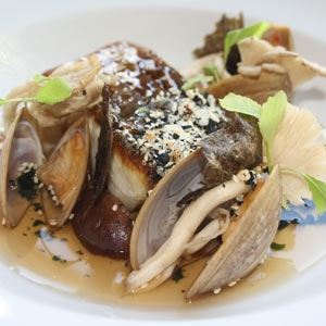 Sake Glazed Barramundi, Charred Kelp and Oyster Shell Broth, Crustaceans, Mushrooms and Furikake - Chef Recipe by Michael Lee