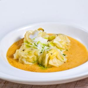 Steamed Prawn Dumplings with Brandy Bisque and Parmesan Fume - Chef Recipe by Avvia