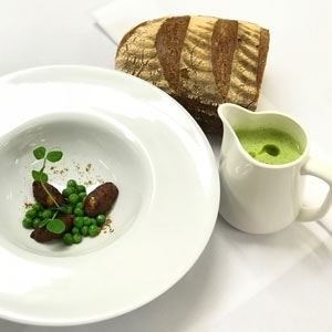 Zucchini and Pea Soup with Halloumi Fritters, Ras El Hanout and Mint Oil - Chef Recipe by Thomas Pirker