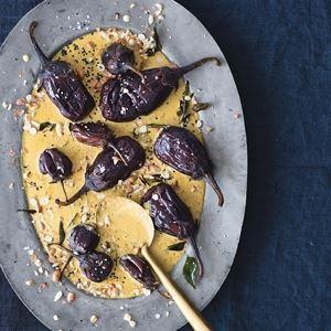 Baghare Baingan - Peanut, Sesame and Coconut Aubergines by Mallika Basu