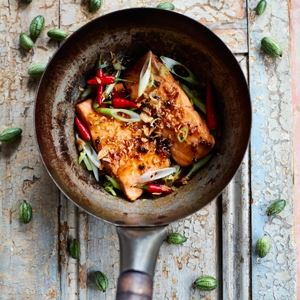 Caramelised Salmon and Green Peppercorns - Chef Recipe by Thuy Diem Pham