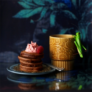 Chocolate Pikelets with Raspberry Butter