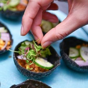 Crispy Squid Ink Cup with Chicken, Blood Orange, Grapefruit and Coconut Salad - Chef Recipe Tiw Rakarin