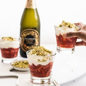 Strawberries, Sparkling Wine, Creme Chantilly and Pistachios - Recipe by The Spice Adventuress