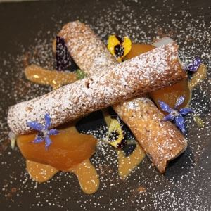 Crunchy Hazelnut Cannoli, Apple Creme, Milk Reduction and Poached Apple - Chef Recipe Luca Radaelli