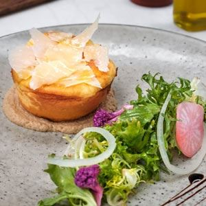 Double Cheese Souffle, Mushroom Cream and Salad - Chef Recipe by Remi Croas