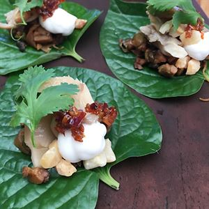 Betel Leaves with Tempeh, Pickled Oyster Mushrooms, Coconut Yoghurt, Macadamias and Chilli Sambal - Chef Recipe by Matt Golinski