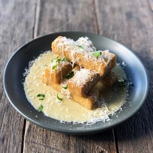 Parmesan Polenta Chips with Gorgonzola Fondue - Chef Recipe by Kevin Rhind