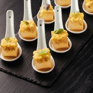 Corn Kombu Gel Canapes with Blue Cheese and Yuzu Miso Sauce - Chef Recipe by Andrew Naudi
