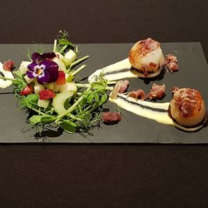 Scallop and Chorizo on Hollandaise by Gail Alcock