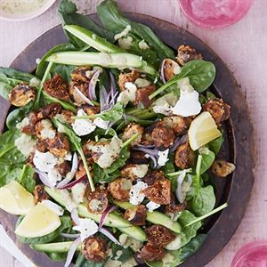 Tandoori Mushroom with a Fig, Goats Cheese and Spinach Salad by Anjum Anand