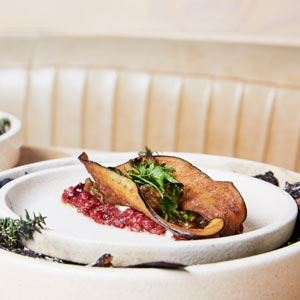 Eggplant Kleftiko, Wallaby, Pomegranate, Tahini and Parsley - Chef Recipe by Reuben Davis