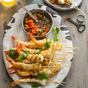 King Prawn Skewers with Papaya Nam Jim