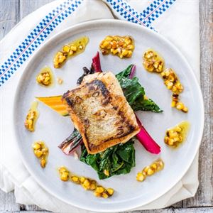 Cod with Chard and Charred Sweetcorn - Chef Recipe by Jack Stein