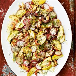 Crayfish Salad with Radishes, Apple, Poppy Seeds and Soured Cream - Chef Recipe by Gill Meller