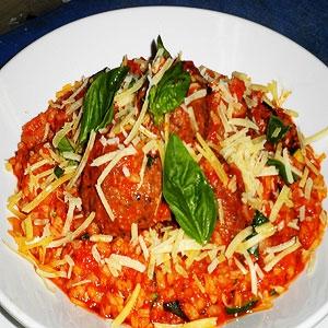 Italian Meatballs with Roast Tomato Sauce & Rice