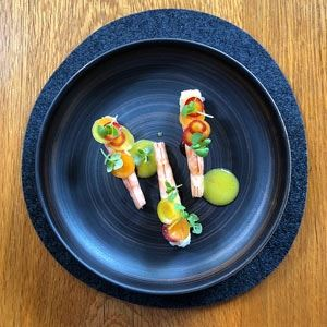 King Prawns, Spiced Peppers, Aged Apple Vinegar, Orange Butter, Pickled Heritage Carrots and Basil - Chef Recipe by Ross Lusted