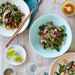 Manuka Honey Grilled Lamb Salad with Crispy Noodles