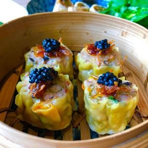 Pork and Prawn Siu Mai, Shiitake, Water Chestnuts and Black Vinegar Sichuan Sauce - Chef Recipe by Richard Manks