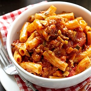 Secret Squirrel Bolognese with Macaroni