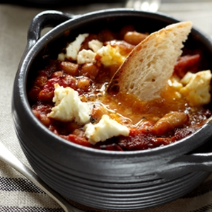Spanish Style Baked Beans with Chorizo, Eggs and Feta