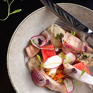 Pickled Salmon with Housemade Kimchi, Whipped Tofu and Watermelon - Chef Recipe by Richard Kerr