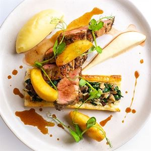 Marinated Pork Fillet with Wild Mushroom En Croute, Glazed Apples and Potato Puree - Chef Recipe by Richard Kerr