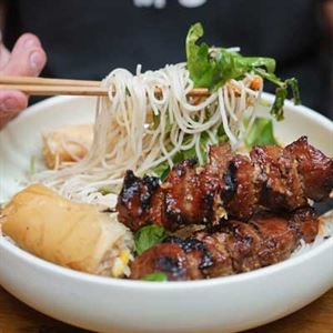 Bun Thit Nuong - Char Siu Pork Skewers with Vermicelli Noodles - Chef Recipe by Cuong Nguyen