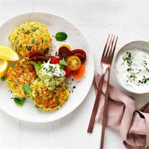 Zucchini, Pea and Feta Fritters by Faye James