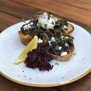Thyme Roasted Mushrooms with Meredith Goats' Cheese, Beetroot Relish and Poached Egg - Chef Recipe by Nikki Kuijs