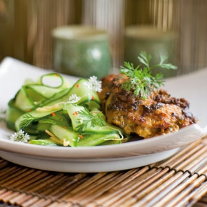 Coconut Chicken with Spicy Cucumber Ribbons