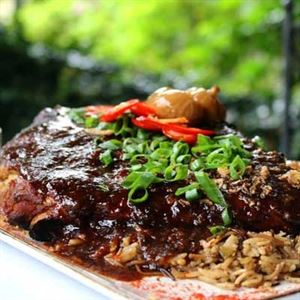 Sticky BBQ Pork Ribs, Bourbon Fig Glaze and Harissa - Chef Recipe by Darren Pettit